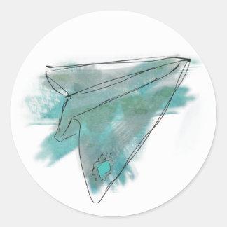 Pegatina plano de papel de la acuarela
