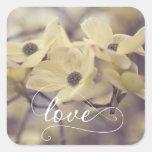 Pegatina poner crema del boda del amor de las flor