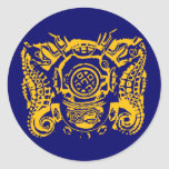 Pegatina principal del azul del buceador