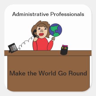 Pegatina profesional administrativo del mundo