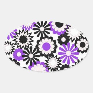 Pegatina púrpura blanco y del negro brillante de