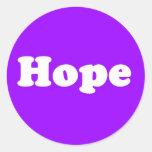Pegatina púrpura de Inpirational de la esperanza