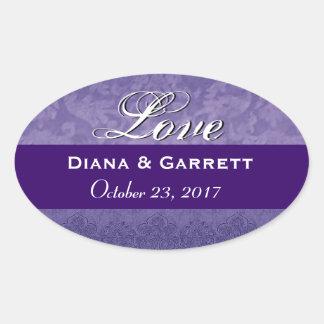 Pegatina púrpura de la fecha del boda de novia y