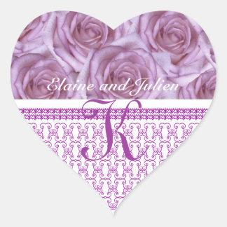 Pegatina púrpura de la letra K de los rosas del