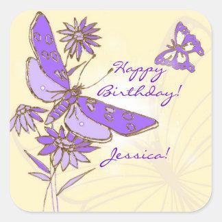 Pegatina púrpura de la mariposa del melocotón
