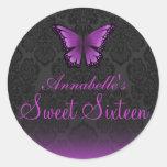 Pegatina púrpura de la mariposa y del damasco