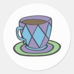 Pegatina púrpura de la taza de té