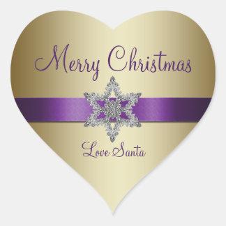 Pegatina púrpura de las Felices Navidad del copo