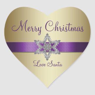 Pegatina púrpura de las Felices Navidad del copo d
