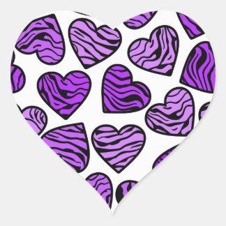 Pegatina púrpura de los corazones de la cebra