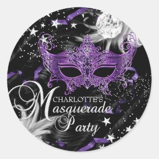 Pegatina púrpura de plata de la mascarada de la