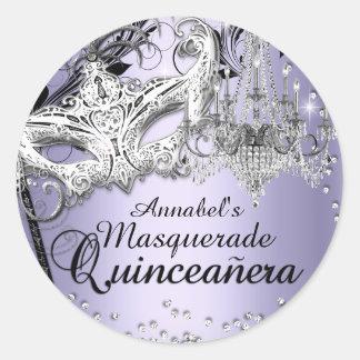 Pegatina púrpura de Quinceanera de la mascarada de