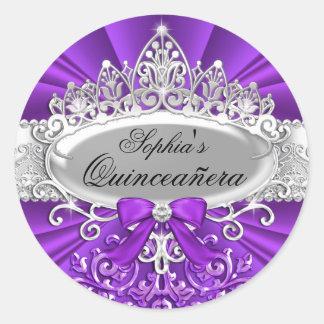 Pegatina púrpura de Quinceanera de la tiara y del