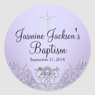 Pegatina púrpura del bautismo de la joya de la