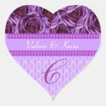 Pegatina púrpura del boda de la letra C del