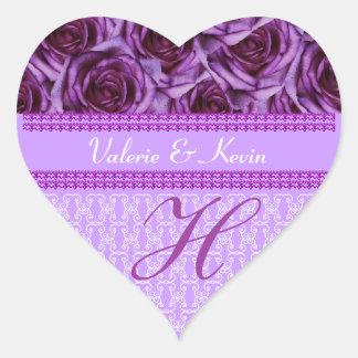 Pegatina púrpura del boda de la letra H del