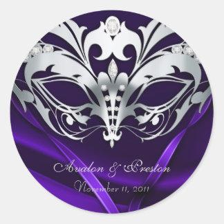 Pegatina púrpura del boda de la mascarada de plata