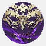 Pegatina púrpura del boda de la mascarada del oro