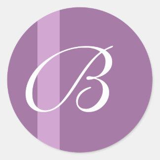 Pegatina púrpura del boda de la raya del monograma
