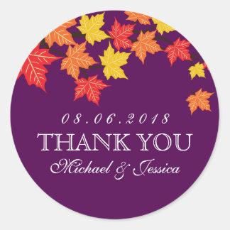 Pegatina púrpura del boda del otoño de la caída de
