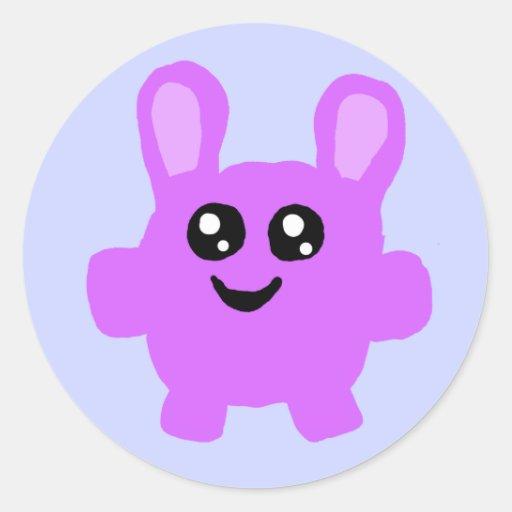 Pegatina púrpura del conejito de Kawaii