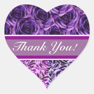 Pegatina púrpura del corazón de los rosas