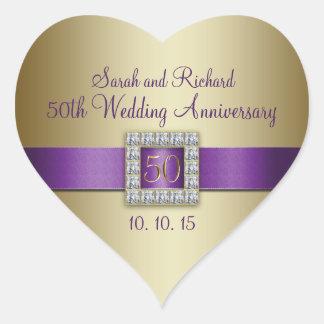 Pegatina púrpura del corazón del aniversario de