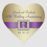 Pegatina púrpura del corazón del aniversario de bo