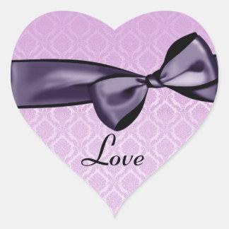 Pegatina púrpura del corazón del damasco del ROSA