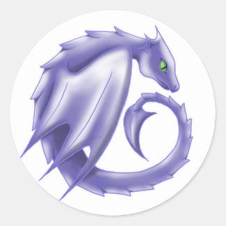 Pegatina púrpura del dragón del círculo