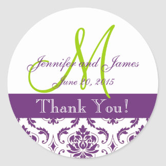 Pegatina púrpura del favor del boda del damasco