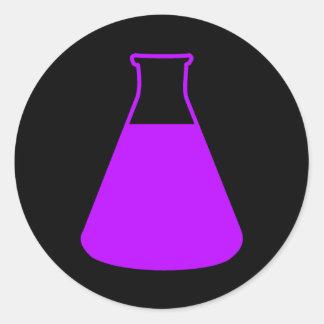 Pegatina púrpura del frasco de Erlenmeyer
