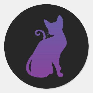 Pegatina púrpura del gato