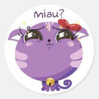 pegatina púrpura del gato de los pequeños bribones