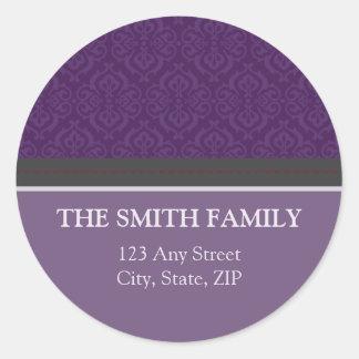 Pegatina púrpura del remite del damasco del vintag
