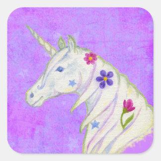Pegatina púrpura del unicornio de la flor