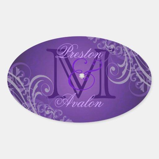 Pegatina púrpura exquisito de la púrpura del monog