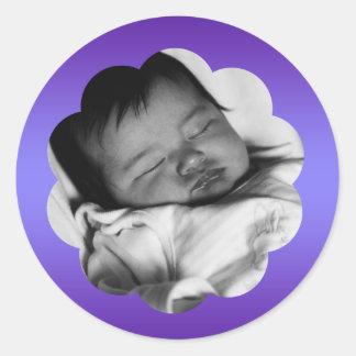 Pegatina púrpura metálico de la foto