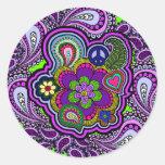 Pegatina púrpura psicodélico de Paisley