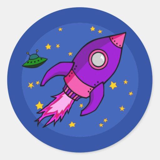 Pegatina púrpura rosado de Rocket