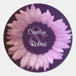 Pegatina púrpura rosado del boda del girasol