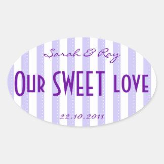Pegatina púrpura y blanco del amor de la raya del