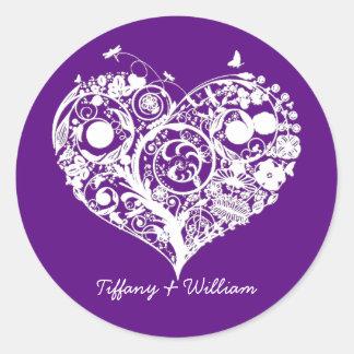 Pegatina púrpura y blanco elegante del boda del