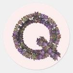Pegatina Q de la flor