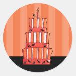 Pegatina rayado anaranjado de la torta de los palo