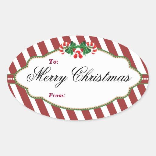 Pegatina rayado oval de la etiqueta del regalo del