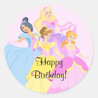 Pegatina real del feliz cumpleaños de princesa