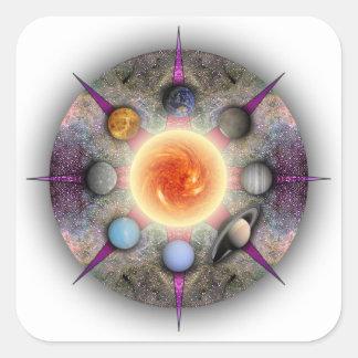 Pegatina rectangular de la mandala planetaria