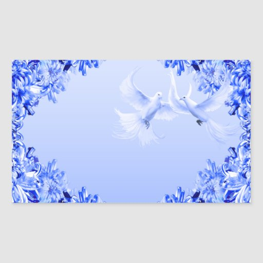 "Pegatina rectangular del ~ ""de las palomas azules"