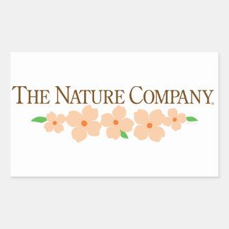 Pegatina rectangular del logotipo con las flores